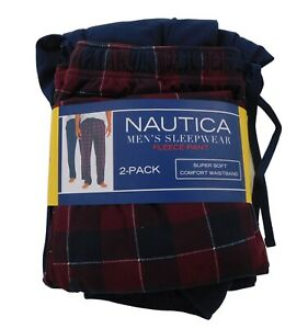 Nautica Men's Small Pajama Pants Fleece 2-Pack Red Plaid and Solid Black Soft