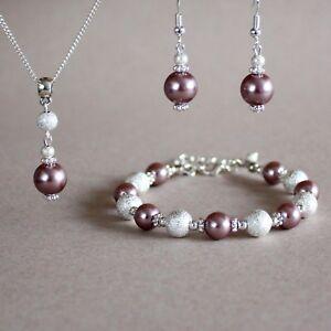 Mink brown bronze pearl necklace bracelet earrings silver wedding bridal set