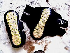 * SALE Tooled Leather LIME Inlay Splint Boots For Rodeo & Trails New Horse Tack