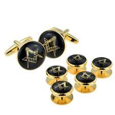 Black & Gold Enamelled Masonic Cufflinks & 5 Button Stud Set X2Aj318A