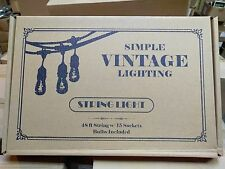NEW 48 ft 15 Sockets Black Outdoor 14 Gauge Edison Metro String Lights+ 18 Bulbs