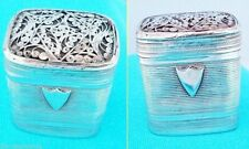 Antique Silver Sponge Box Dutch Silver and Glass L'Eau De La Reine (4562)