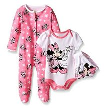 Disney Baby Minnie Mouse 3 PC Set With Bib 3/6 Months With Tag
