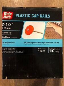"(1 Lb / 103 NAILS) 2-1/2"" Plastic Round Cap Electro Galvanized Ring Shank Nail"