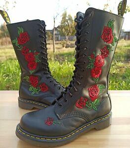 Dr Martens Vonda Boots Women 6 UK 8 US Embroidered Floral Applique Roses 1914