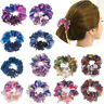 Women Lady Shiny Floral Hair Scrunchies Ponytail Holder Elastic Ties Bands Girl
