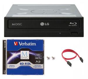 LG 16x WH16NS40 Internal Blu-ray Burner+50GB Verbatim M-Disc BD-R DL+SATA Cable