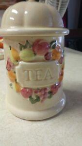 """Vintage Ceramic Glass Tea Jar 28 oz 71/2"""" High Fruit Design On The Front TEA Lid"""