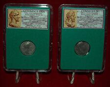 Ancient Roman Empire 2 Coins COMMODUS and ANTONINUS PIUS Silver Denarii