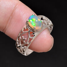 925 Sterling Silver Jewels Natural Ethiopian Opal Handmade Ring Size us 6