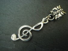 Large hole silver metal treble clef charm for Kumihimo or leather bracelets