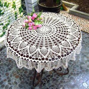Handmade Crochet Round Tablecloth Lace Table Cover Cup Mat Placemat Table Cloth