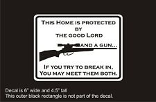Lord and gun 2nd Amendment Armed decal sticker house alarm sign stocking stuffer