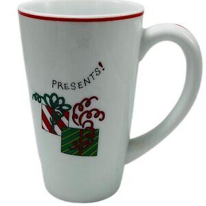 "Fitz & Floyd PRESENTS! Christmas Happy Holidays Tall Latte Coffee Mug 6"" Tall"