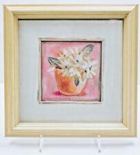 "Carol Robinson Print Framed White Flowers w/Blue Center on Pink 12"" x 12"""