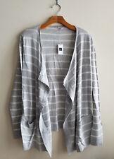 Gap Women's Open Front Cardigan, Cotton Blend, Gray Striped, Size M, NWT