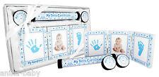 New Baby Boy Present Christening Gift Keepsakes Handprint Footprints Kit Blue
