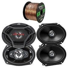 "JVC 6x8"" 2-Way Coaxial Car Speakers, 6x9"" 3-Way JVC Speakers, 50FT Speaker Wire"