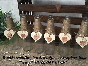 RUSTIC WEDDING JARS/BOTTLES TABLE CENTREPIECE HESSIAN VINTAGE SHABBY CHIC X6