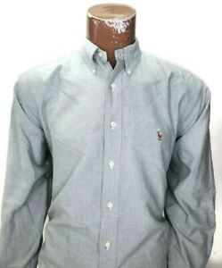 Ralph Lauren Mens Dress Shirt Green Yarmouth Oxford Cotton Brown Pony 16 35