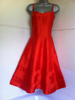Toast100%silk dupion orange dress fitted bodice very full skirt fully lined10