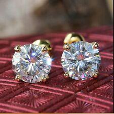 2 Ct Forever Moissanite Solitaire Stud Earrings Real 14k White Gold Round Shape