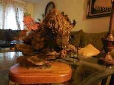 Rustic Head Sculpture of Running Bison over Mountain and boulders Signed Dubing?