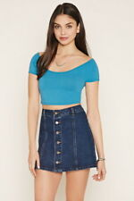 Forever 21 Crisscross-Back Crop Top Teal Small