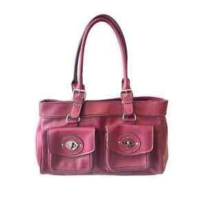Emilie M Berry Pink Faux Leather Bag Cargo Pockets