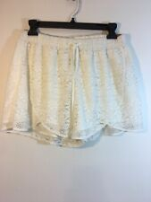 Hollister Women's Lace Off White Lined Shorts Elastic Waist Large NEW