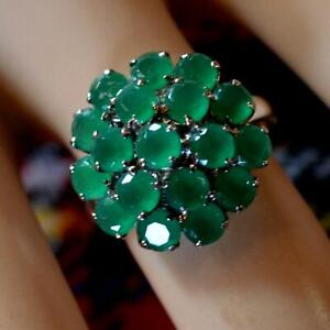SILVER second hand jade cluster ring