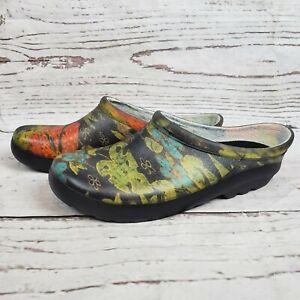 Sloggers Womens 9 Rain Clogs Slip On Waterproof Shoes Black Floral Gardening