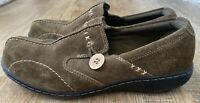 Clarks US 8 Bendables Olive Green Suede Button Slip On Loafers Shoes Comfort