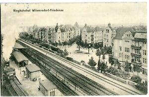 BERLIN Ringbahnhof WILMERSDORF - FRIEDENAU Vogelschau Bahnsteig Lok 1913
