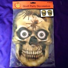 "Halloween Grinning Skulls Spiders Wall Window Door Decor 9""x13"" set of 4 NIP"