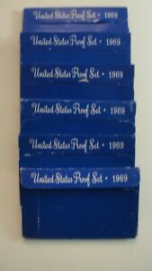 Lot of 6 United States Proof Sets all 1969
