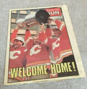 1989 Stanley Cup Sun Newspaper Calgary Flames win the NHL Series