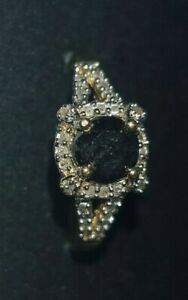 10k gold stamped ring w/central black diamond surrounded by 36 diamonds size N