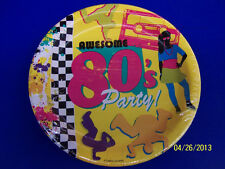 "80's Decades Totally Awesome Bright Theme Retro Birthday Party 9"" Dinner Plates"
