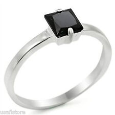 Ladies Square Cut Black CZ Stones .925 Sterling Silver Ring Size 9