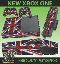 XBOX ONE CONSOLE STICKER NEW LOOK UNION JACK FLAG CLEAN WAVY SKIN & 2 PAD SKINS