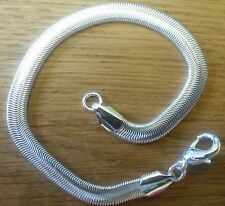 SB02 Plum UK 20cm x 7mm smooth flat snake chain bracelet 925 silver overlay BOXD
