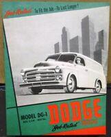 1952 Dodge Truck Canadian DG-1 Light Duty Panel Express Sales Brochure Original