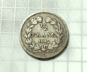 France Silver 1/2 Franc 1842B - Louis-Philippe - Nice Rouen Mint Issue!