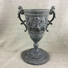 Antique Victorian Cast Metal Urn Vase Ornate Neo Classical Cherub Putti Putto