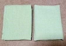 """Pottery Barn Kids Green Gingham Curtain Panels 44 x 63"""" - set of 2 (a pair)"""