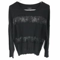 Barneys New York Sweater Popover Top Knit Lace Detail Long Sleeve Large Black