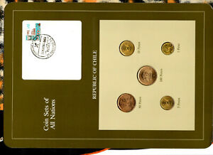 Coin Sets of All Nations Chile w/card UNC 100 P 1985 1,5,10 Pesos 1986 50 P 1982