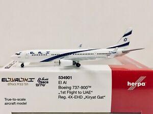 """Herpa Wings EL AL Boeing 737-900 """"1st Flight to UAE"""" 1:500 4X-EHD 534901"""