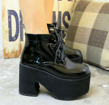 Cosplay Gothic Harajuku Punk Womens Lace Up Platform High Heel Ankle Boot Retro8